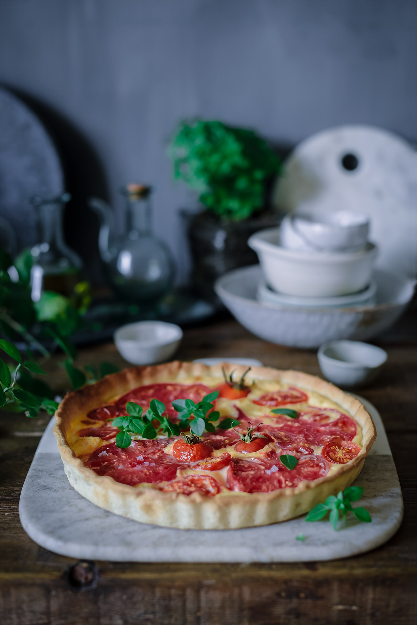Tarta de tomates y queso de cabra-Sabores y Momentos