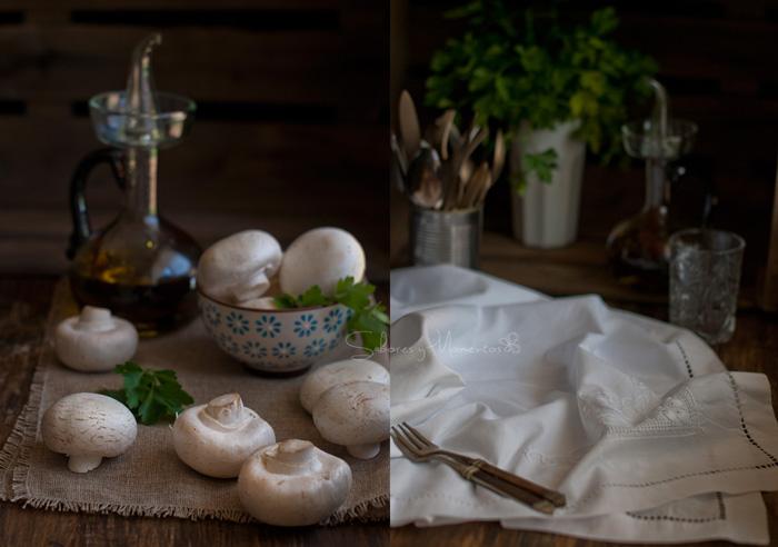 Champiñones rellenos al horno y {Sorteo de la Aceitera Lafiore}