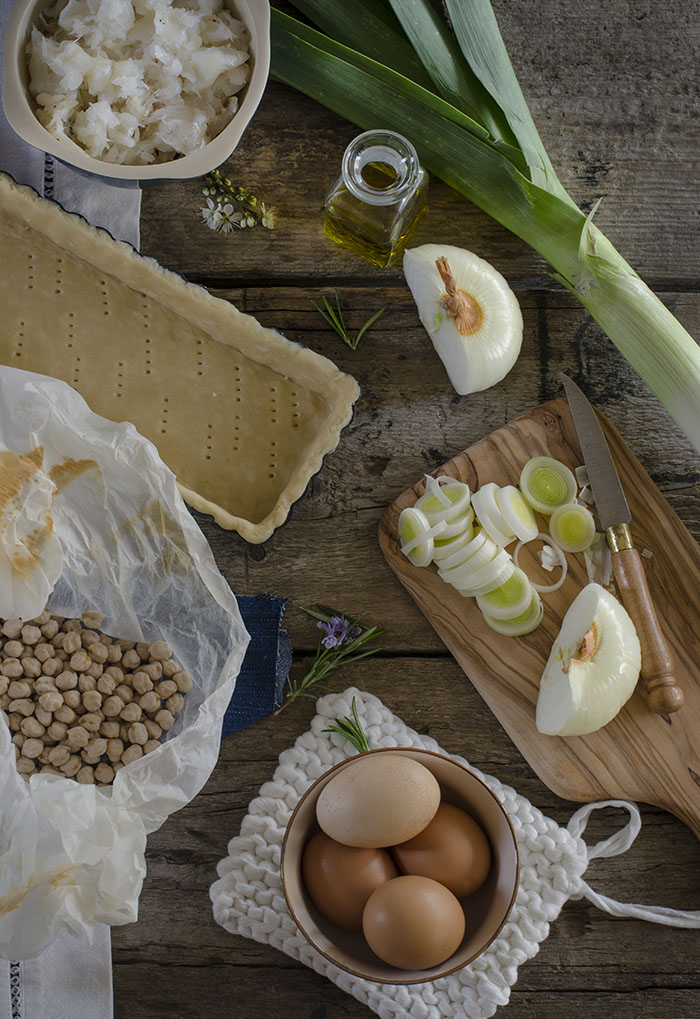 Ingredientes para Quiche de Bacalao