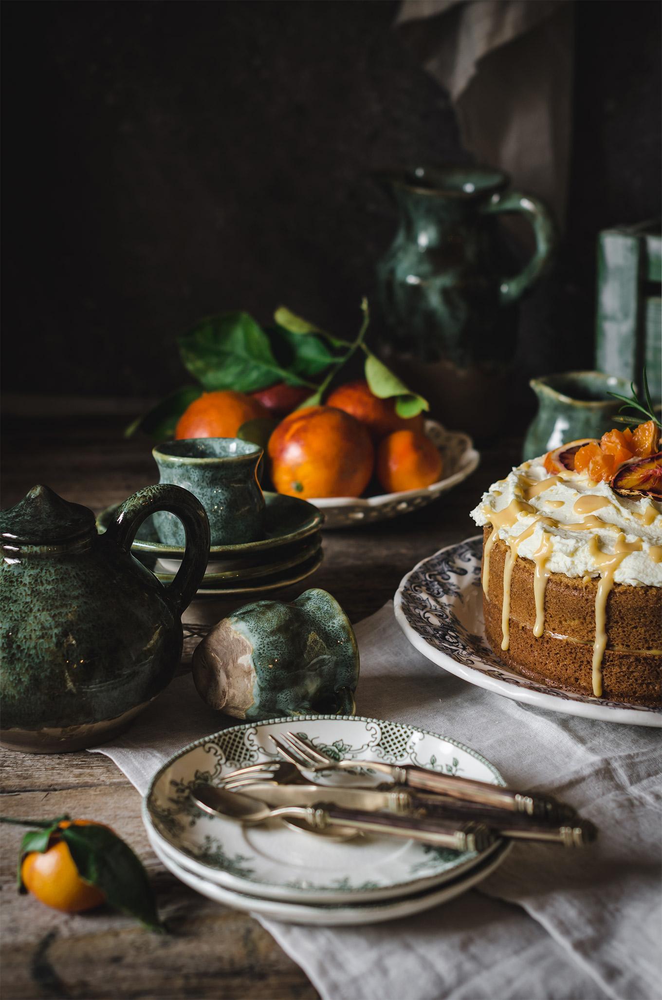 pastel rústico de naranja