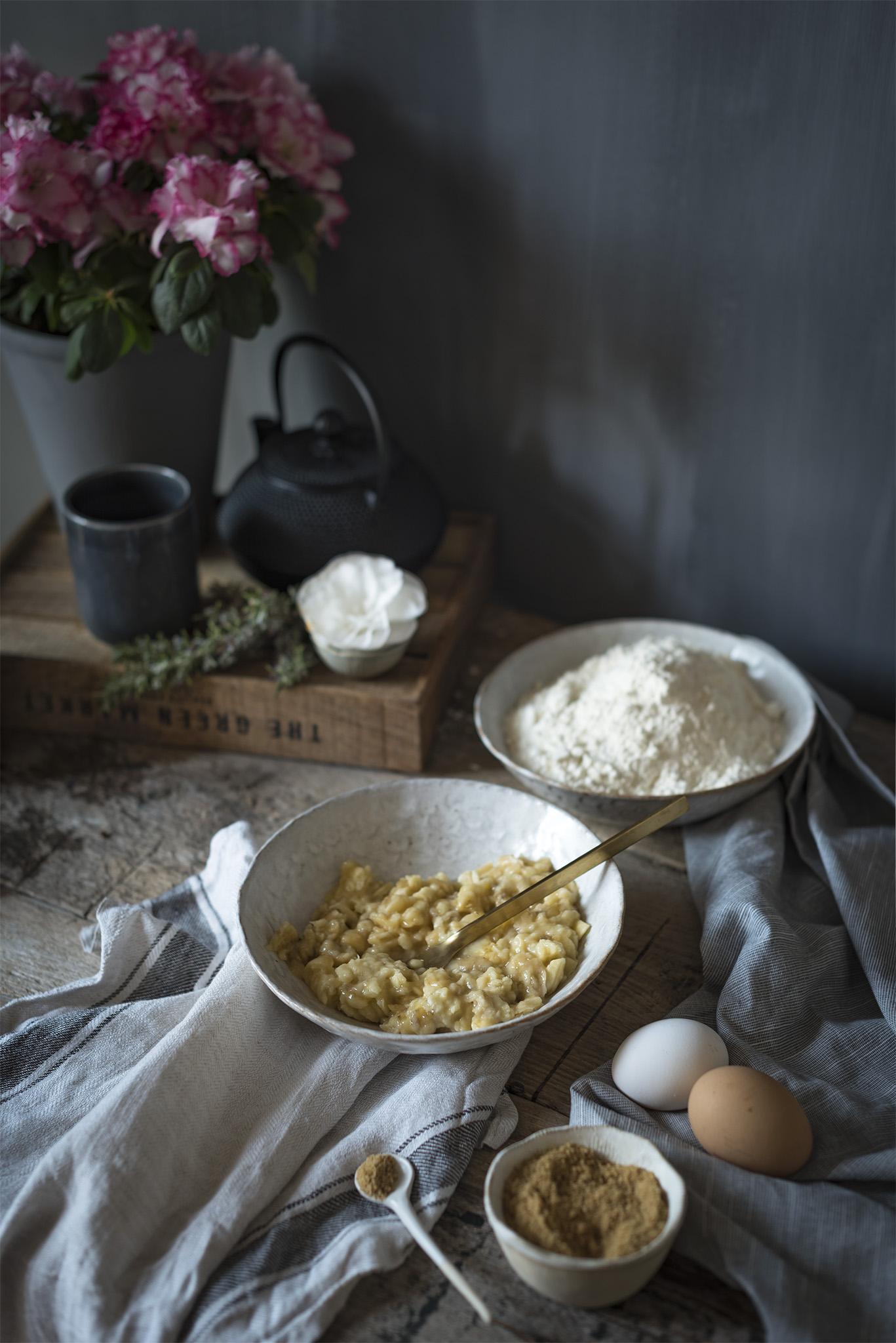 Ingredientes para un bizcocho de platano