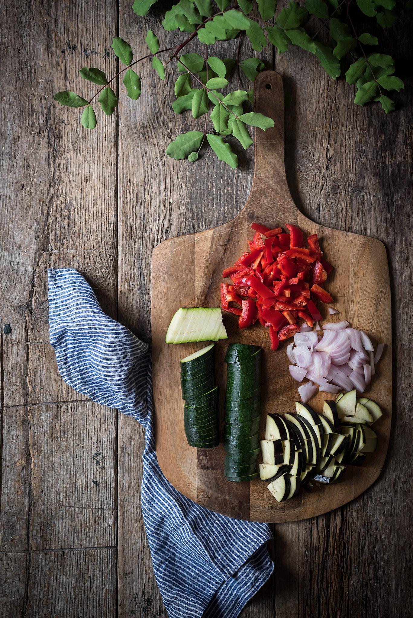 verduras troceadas para pisto