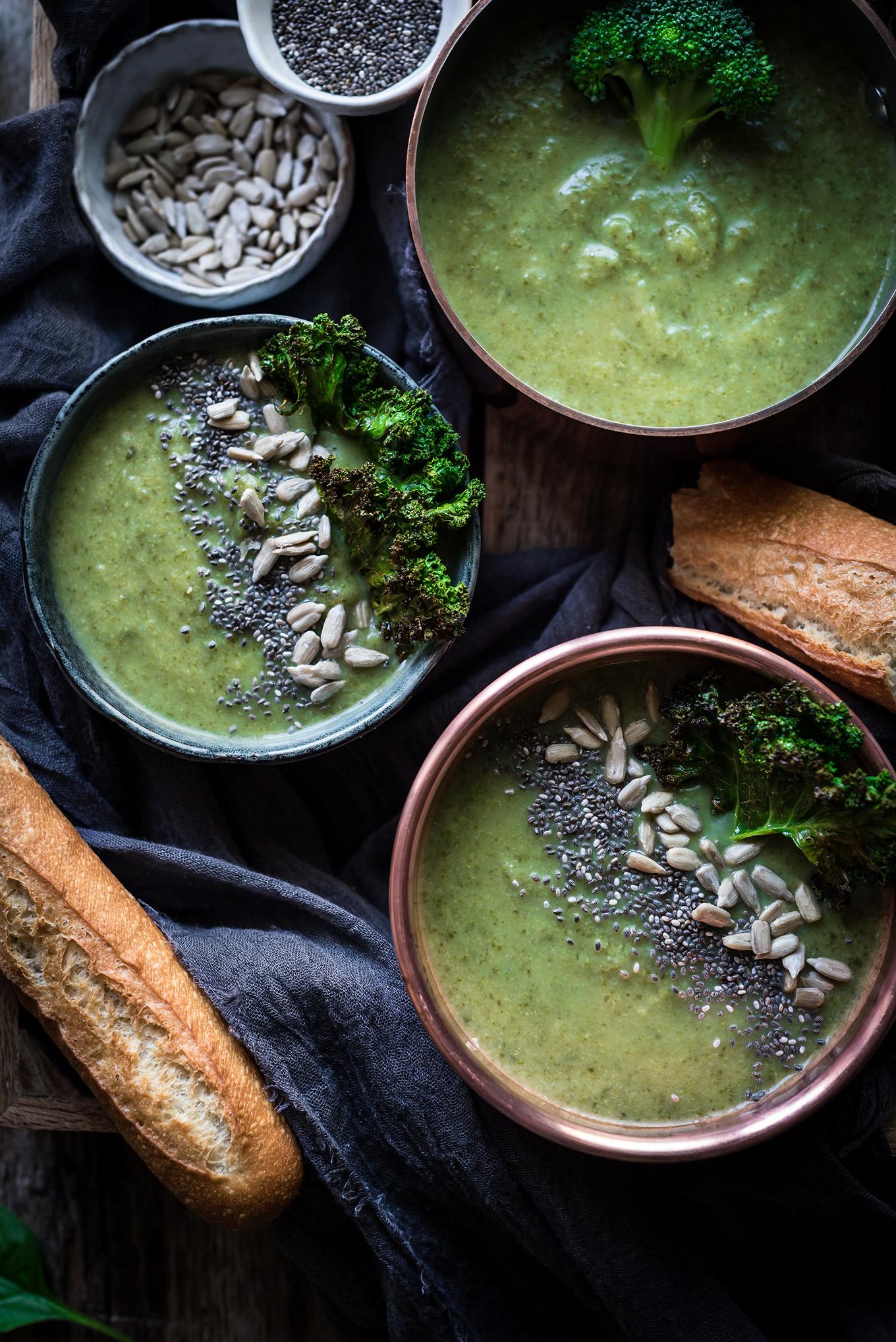 Crema detox de brócoli y espinacas