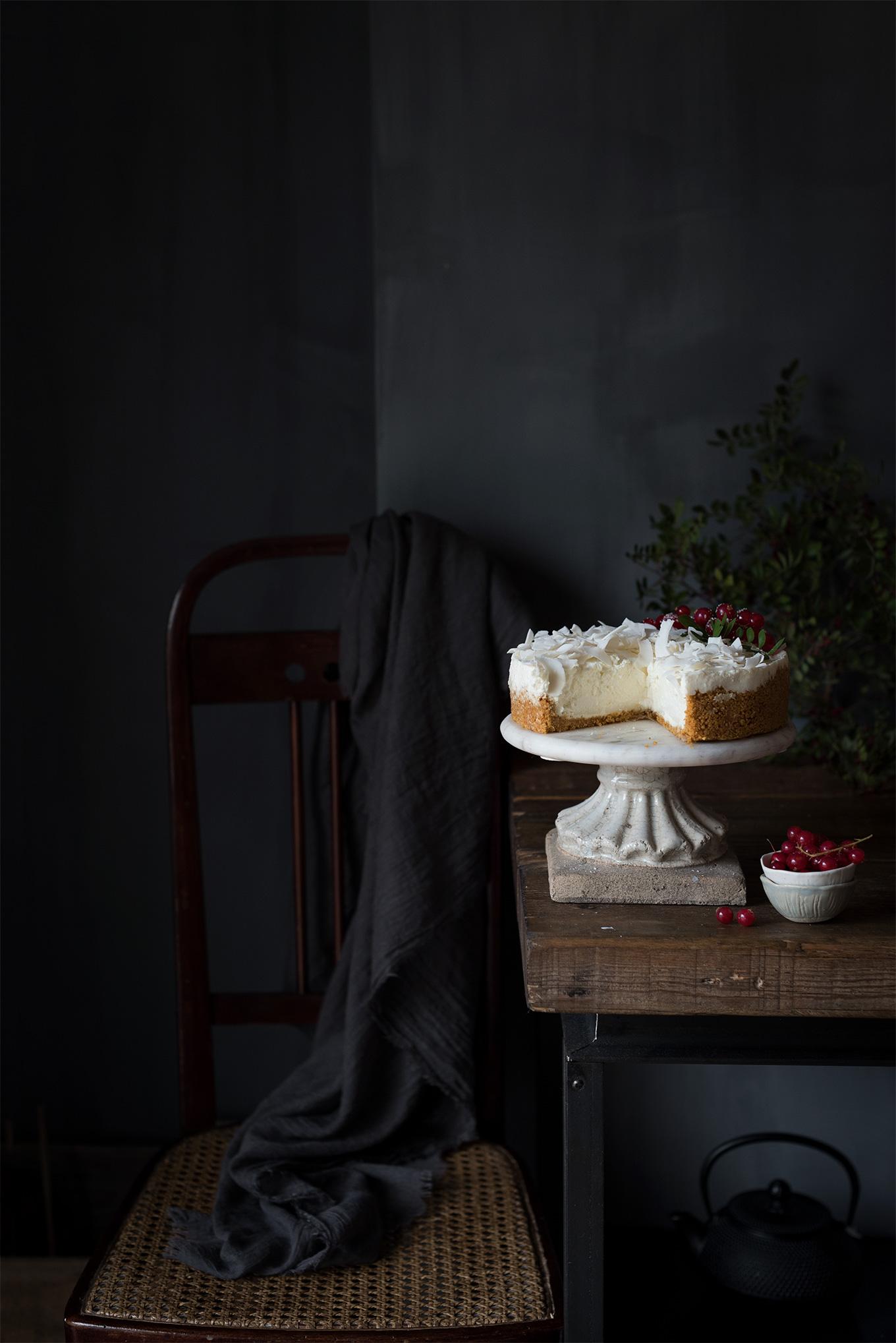Presentación de la tarta de coco fría