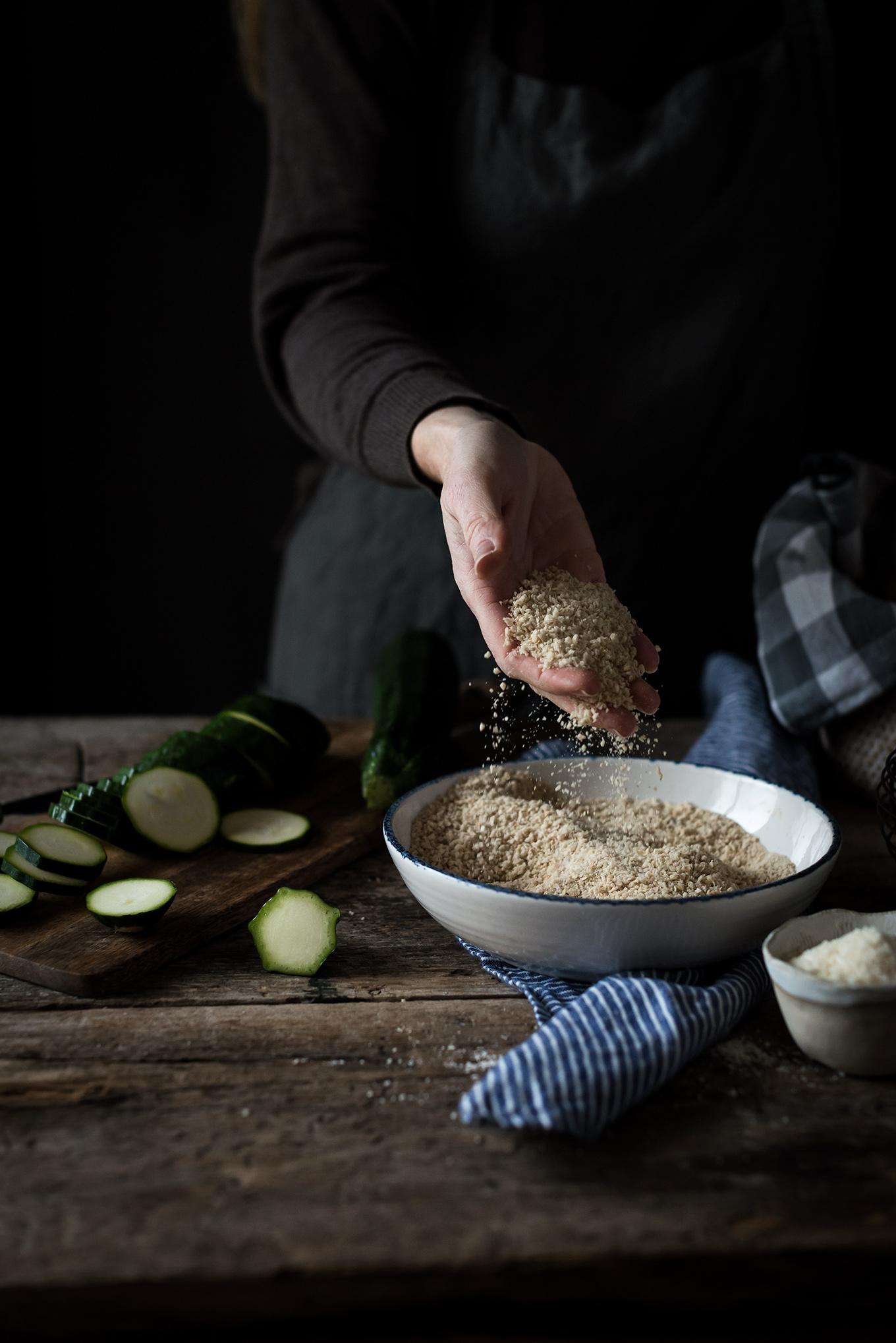 Ingredientes para hacer calabacín rebozado al horno