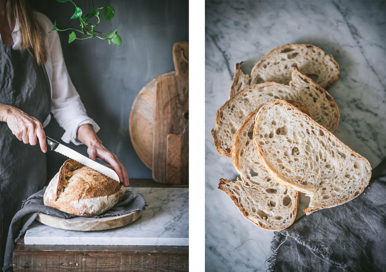 La miga del pan de masa madre casero